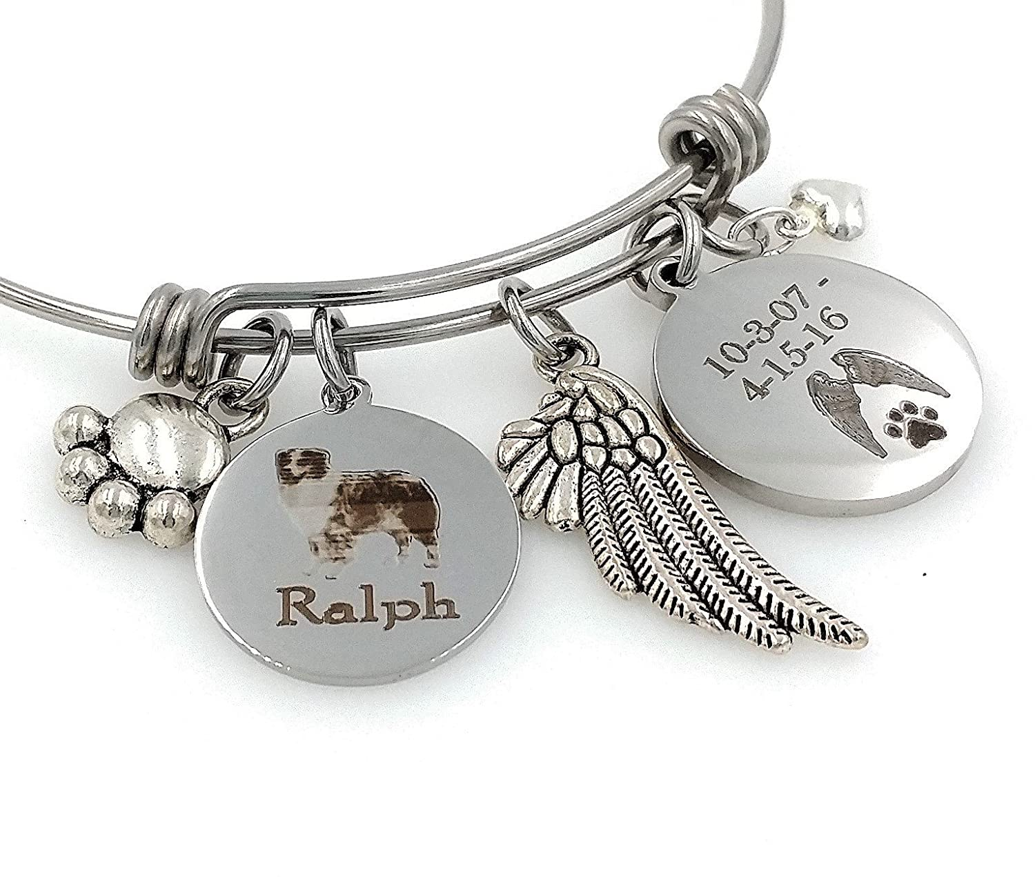 Australian Shepherd Rainbow Bridge Aussie Personalized Memorial Remembrance Bangle Bracelet or Necklace Engraved