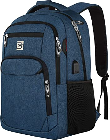 Color : Blue Built-in USB Charge-Back Bag College Bag,15.6 Inch Laptop Backpack,Durable Large Capacity for Hiking