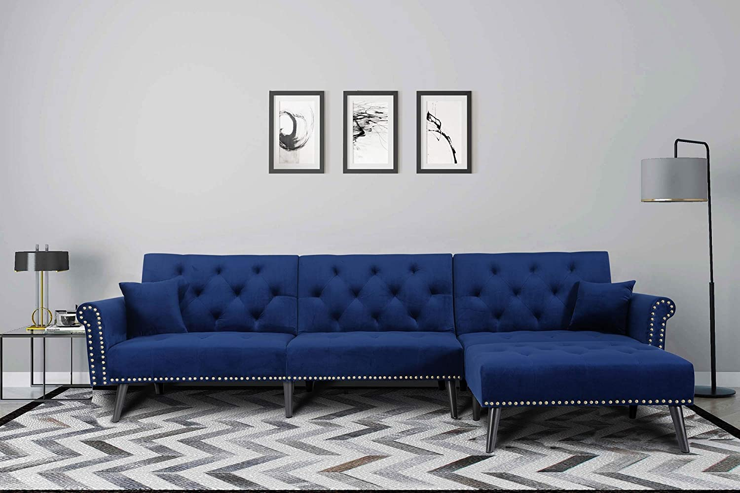 Amazon.com: Elvet Fabric Sectional Sofa Set Corner Couch With Chaise Lounge Living Room Furniture (Navy Blue): Kitchen & Dining