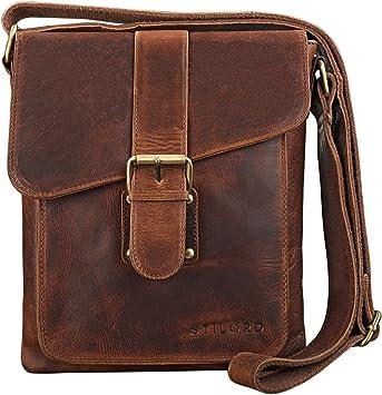 STILORD 'Mattia' Bolso de Piel Vintage pequeño para Hombres y Mujeres Bolso Mensajero o Bandolera para Tablet de hasta 10,1 Pulgadas de auténtico