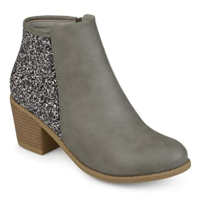 Journee Collection Womens Glitter Wood Stacked Heel Booties Grey 4d9b21451c73