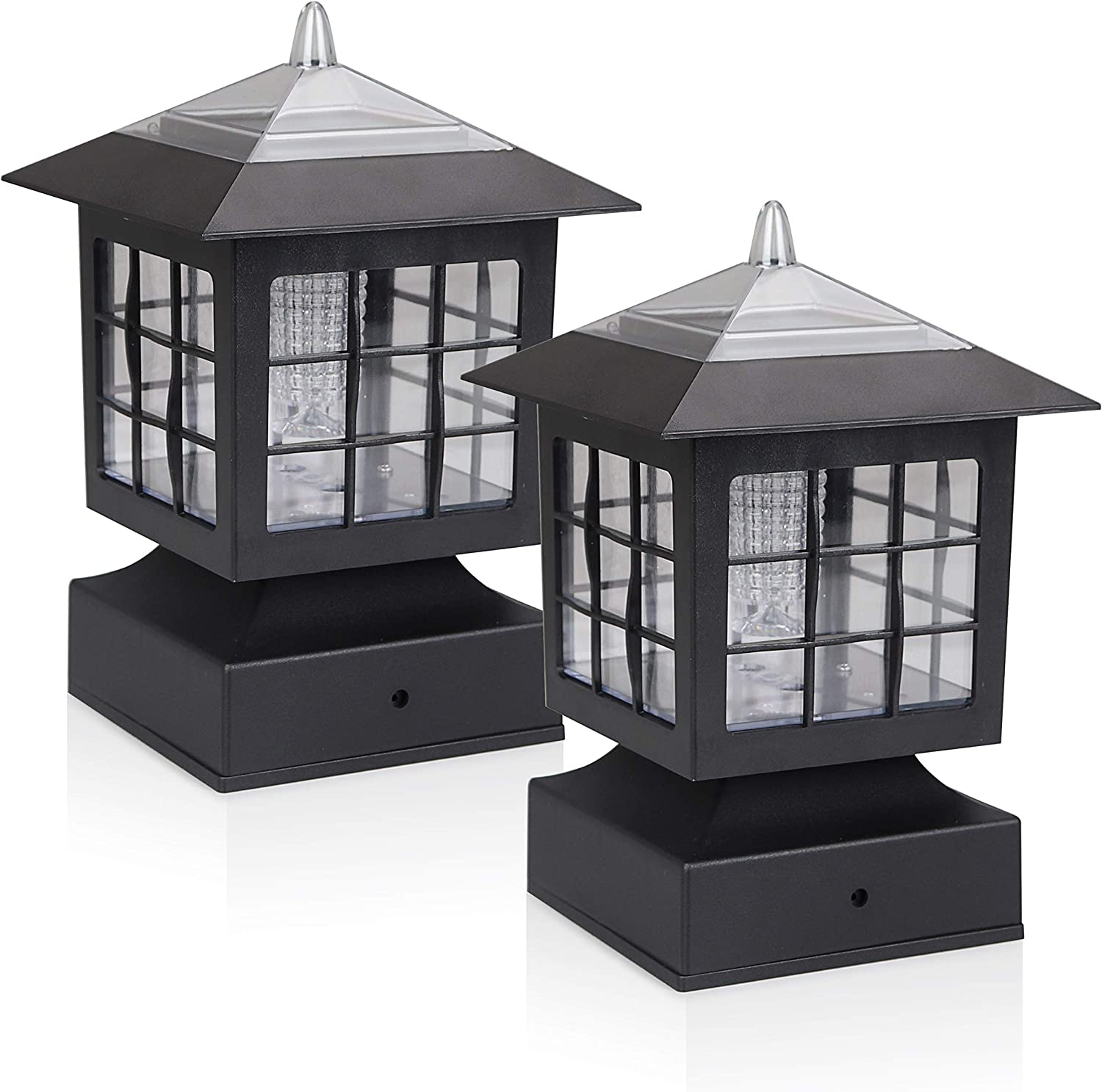 KMC LIGHTING KS101X2 Outdoor Solar Light 2 Pack with 4-Inch Fitter Base for Outdoor Garden Post Pole Mount 4.88X4.88X7.48""