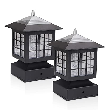KMC LIGHTING KS101X2 Outdoor Solar Light 2 Pack with 4-Inch Fitter Base for  Outdoor Garden Post Pole Mount 4 88X4 88X7 48