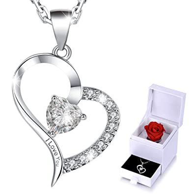 Marenja crystal womens necklace with heart pendant engraved i marenja crystal womens necklace with heart pendant engraved quoti love youquot white mozeypictures Images