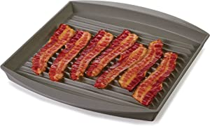 "Prep Solutions by Progressive Microwave Large Bacon Grill - Gray, PS-66GY, 7-9 Strips of Bacon, Cook Frozen Snacks, Frozen Pizza, Measures 12"" L x 10"" W"