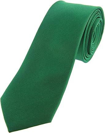 Soprano Plain fina verde esmeralda satinado seda corbata: Amazon ...