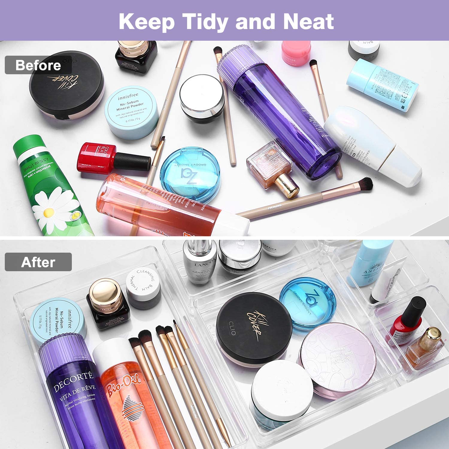 Clear Plastic Storage Bins Drawer Dividers Vanity Tray Organizer for Makeup Bedroom Dresser Bathroom Kitchen Office Puricon Desk Drawer Organizers Tray Set 10 Pcs Clear
