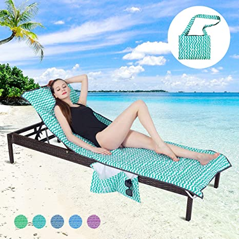 a49a45596a60 Amazon.com : YOULERBU Thickened Beach Chair Cover Towel, Swimming ...
