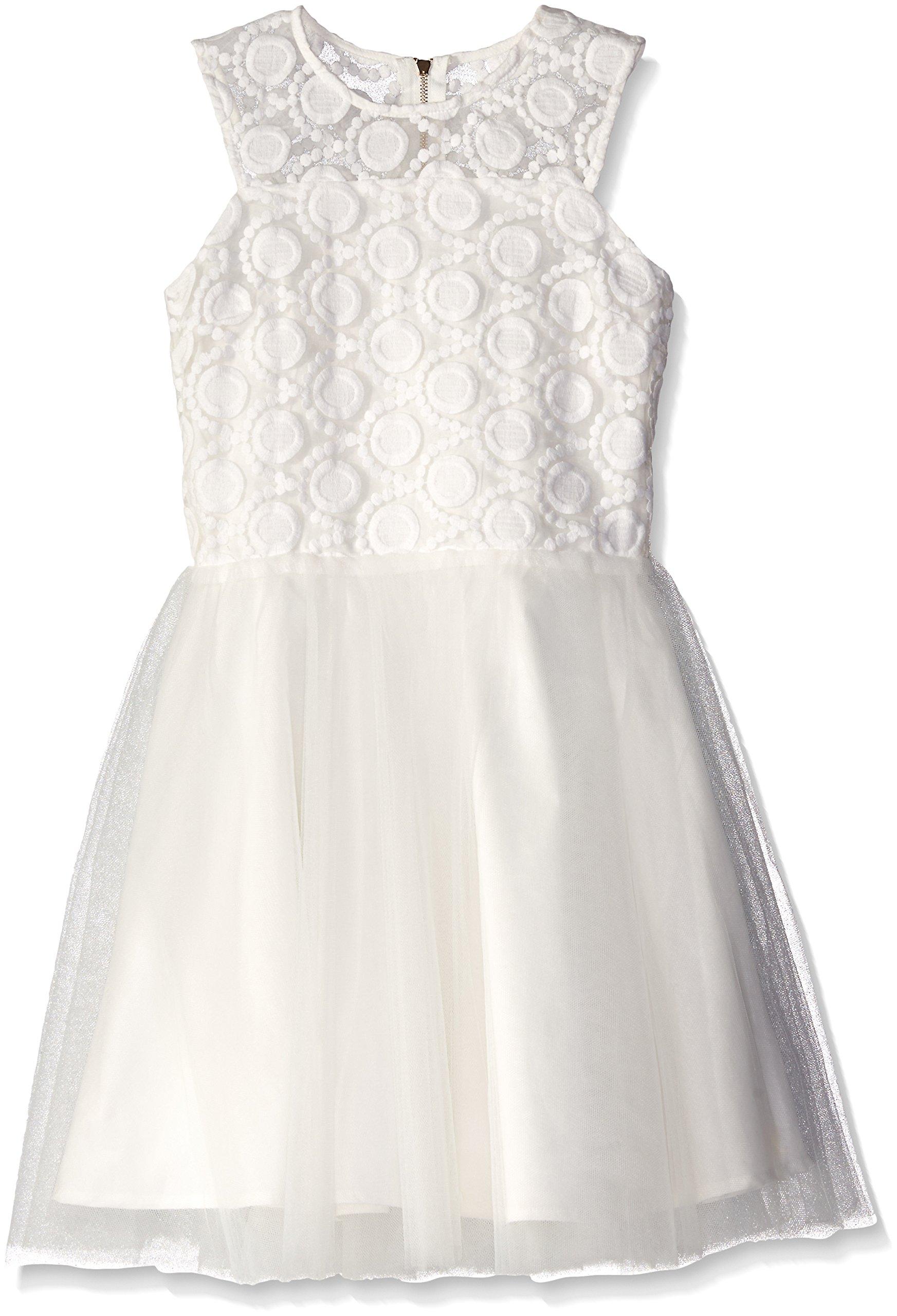 Miss Behave Big Girls' Emily Dress, White, Large