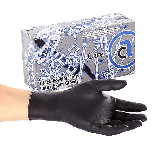 AmerCare Ninja Powder Free Exam Gloves, Latex, Medium, Case of 1000