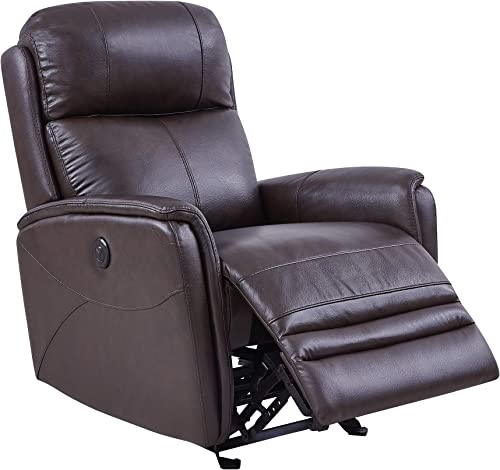 Armen Living Wolfe Contemporary Dark Brown Top Grain Leather Power Recliner Chair with USB