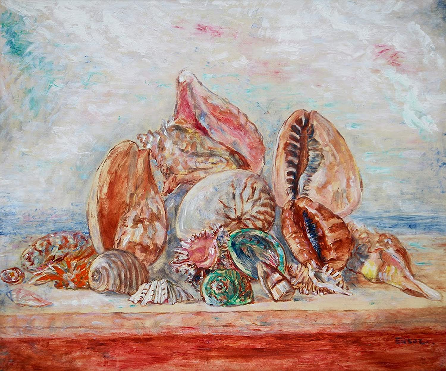 Aenx James Ensor Still Life With Shells Painting 30 X 25 Wall Art Giclee Canvas Print Unframed Posters Prints