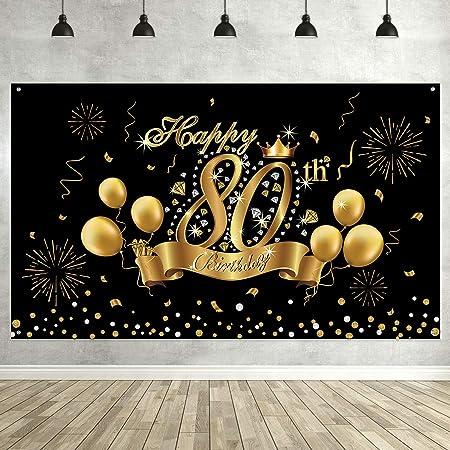 Decoración de Fiesta de 80 Cumpleaños Negra Dorada, Póster Cartel de Tela Extra Grande para 80 Aniversario Foto Props Pancarta de Fondo, Materieles de ...