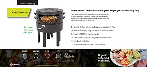 Tumbleweed Can O Worms Vermicomposter for Outdoor Indoor to Recycle Organic Waste Worm Compost Bin