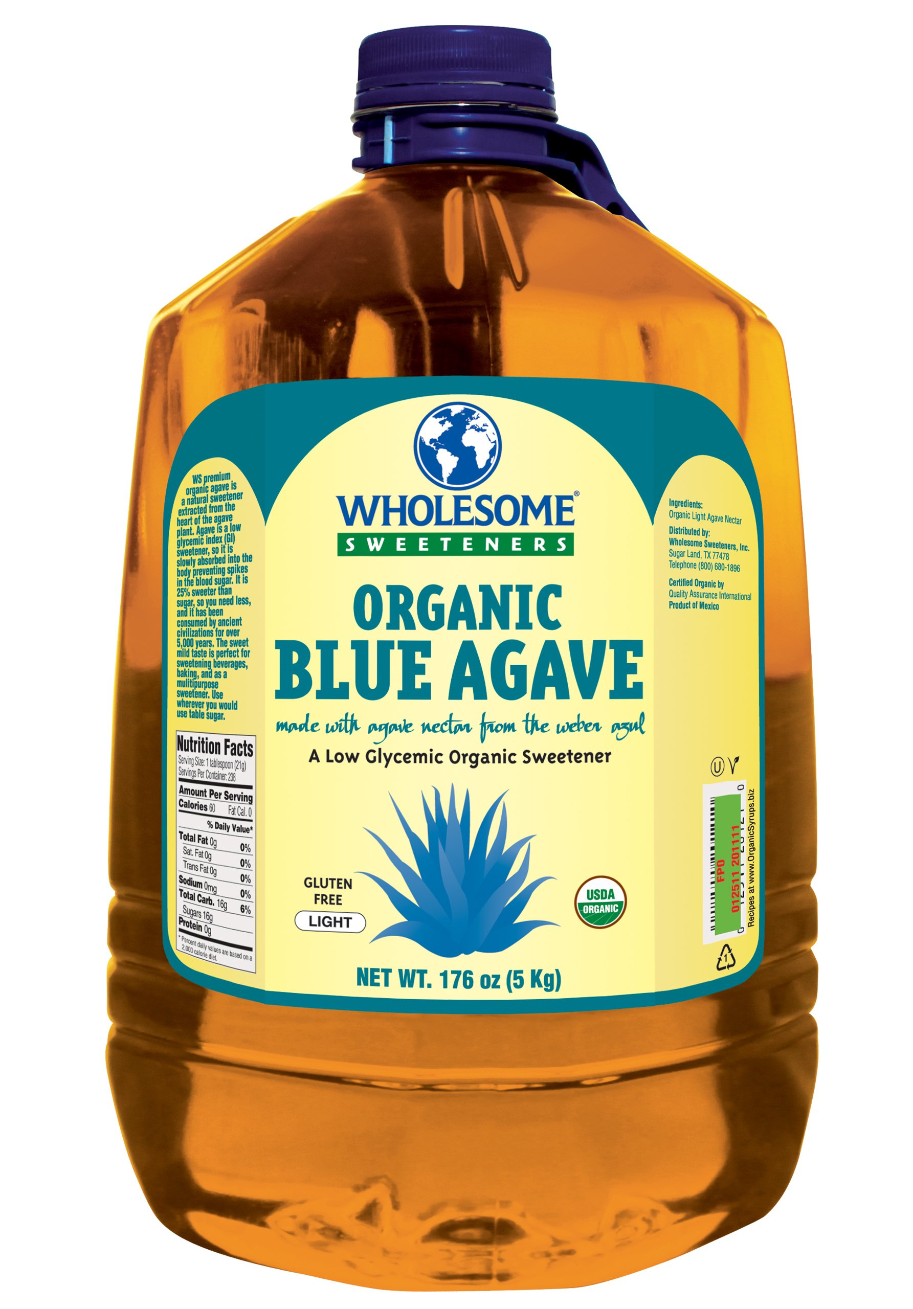 Wholesome Sweeteners Organic Blue Agave, 176oz , 1 Case by Wholesome Sweeteners