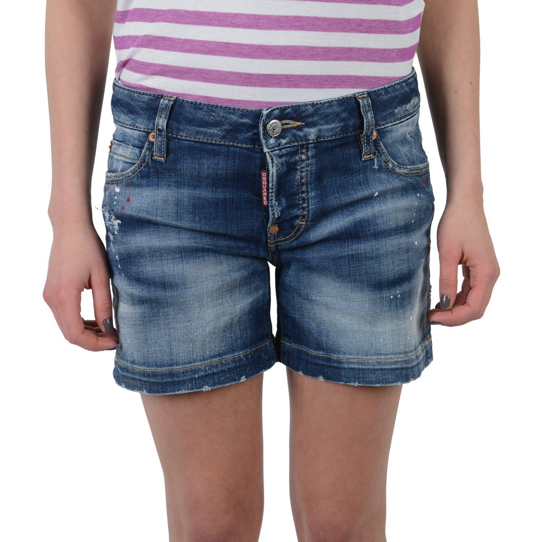 Dsquared Women's Denim Distressed Shorts US 4 IT 40