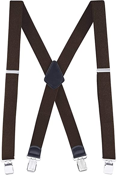 Suspenders Mens Elastic X-Back Adjustable Straight Clip-On 2 sizes 17 Colors