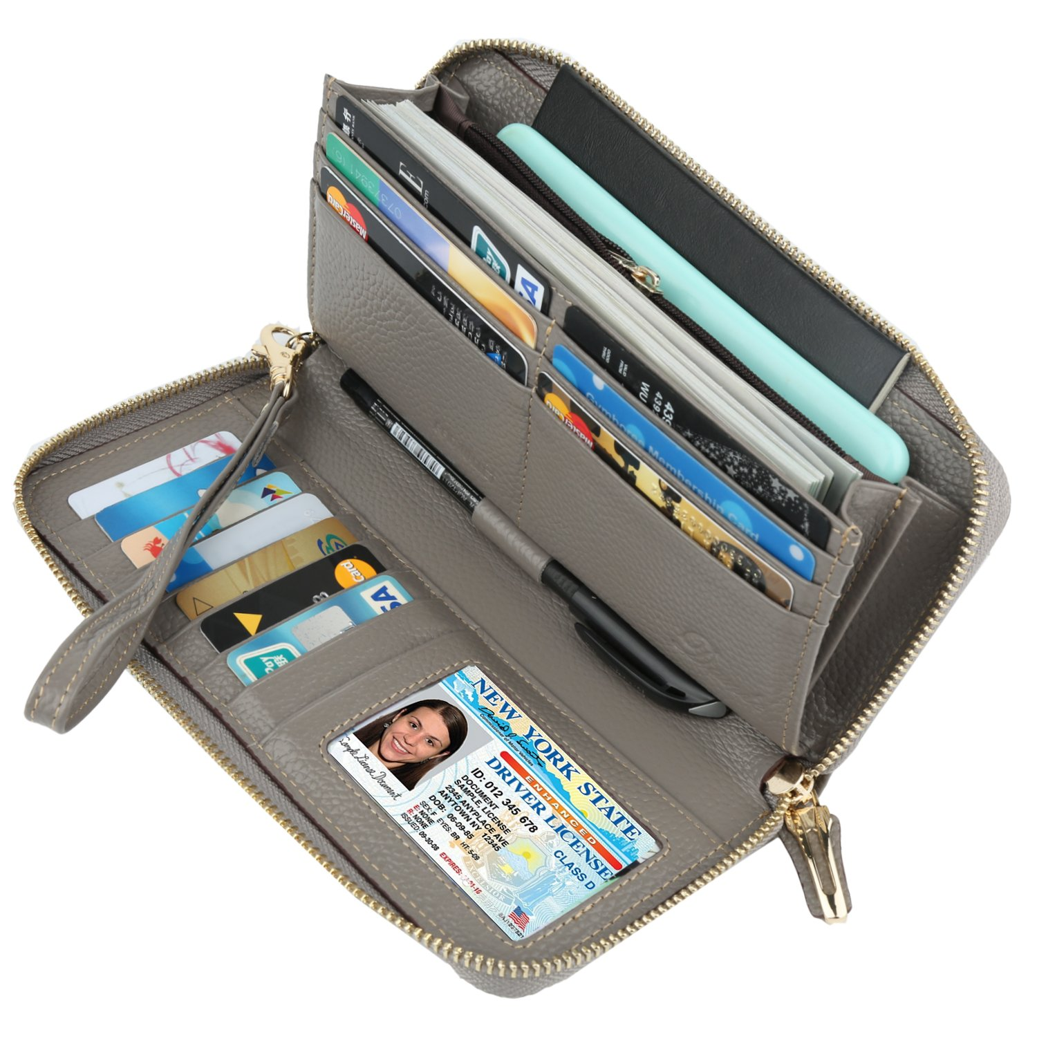 Dante RFID Blocking Wax Real Leather Zip Around Wallet Clutch Large Travel Purse for Women(Pebble Grey)