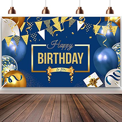 Happy Birthday Backdrop Birthday Party Banner Decorations Sign Blue For Girls Boys Supplies Celebration