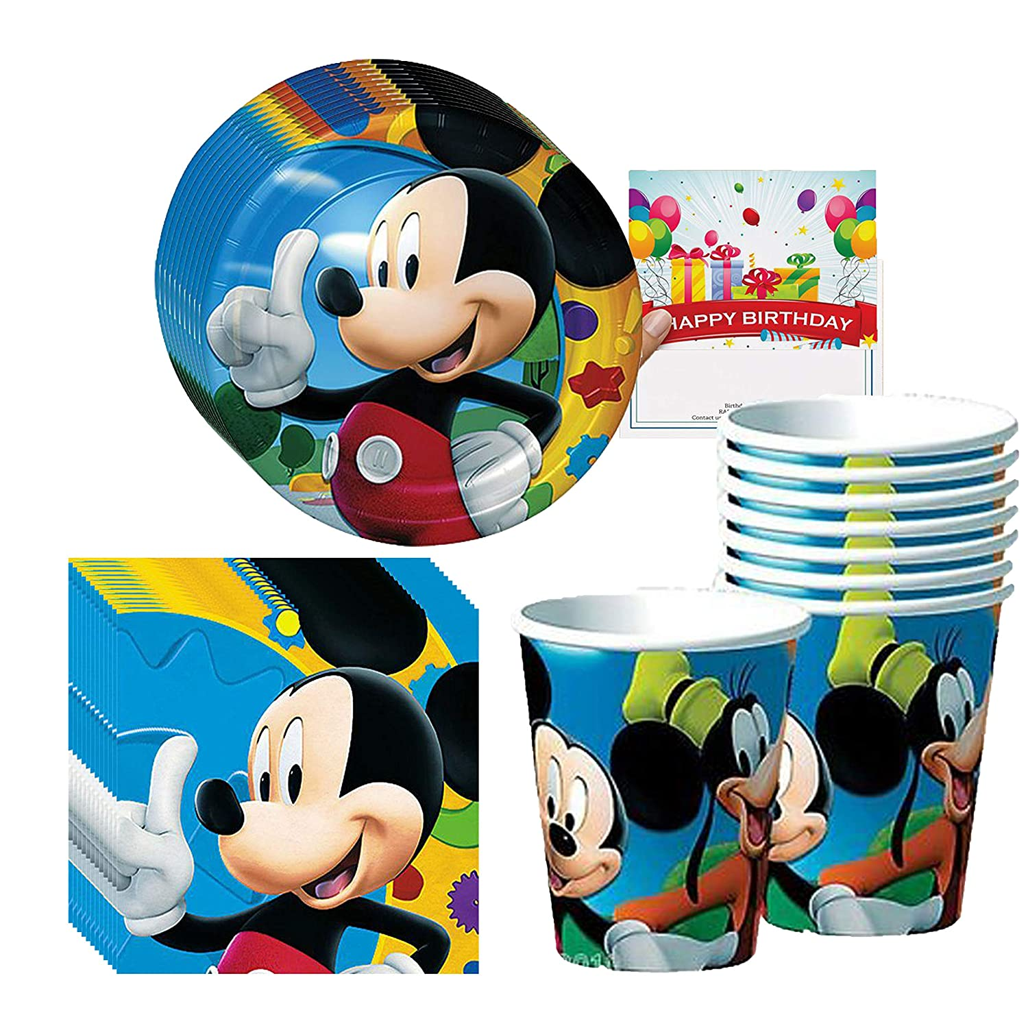 Amazon.com: Mickey Party Supplies - Juego de vasos, platos y ...