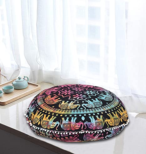 AAKARSHAN - Cojín de meditación con diseño de Mandala de ...