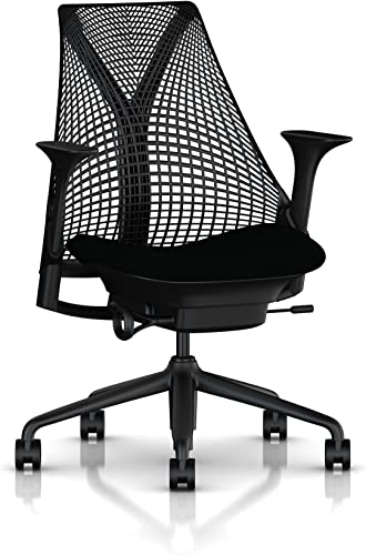 Herman Miller Sayl Ergonomic Office Chair with Tilt Limiter and Carpet Casters Stationary Seat Depth and Adjustable Arms Black Frame with Licorice Crepe Seat