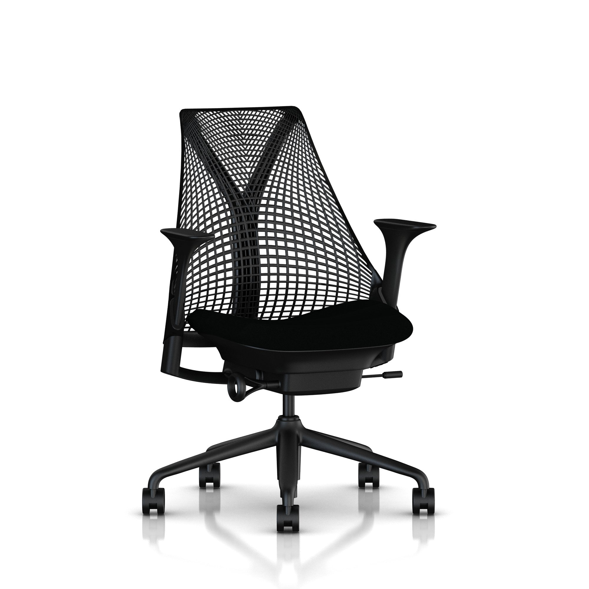 Herman Miller Sayl Ergonomic Office Chair with Tilt Limiter and Carpet Casters | Stationary Seat Depth and Arms | Black Frame with Licorice Crepe Seat by Herman Miller