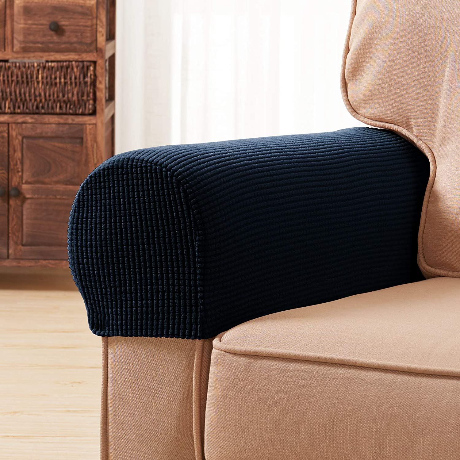 subrtex Spandex Stretch Fabric Armrest Covers Anti-Slip Furniture Protector Armchair Slipcovers for Recliner Sofa Set of 2 with Free Fixing Tools (Navy with Twist Pins)