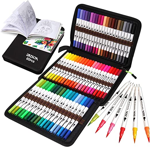 ZSCM Coloring Brush Pens Markers Set, 60 Colors Dual Tips Fine Tip Markers Set with Coloring Book, Gifts for Children, for Kids Drawing, Adult Coloring Books, Sketching Bullet Journal Planner
