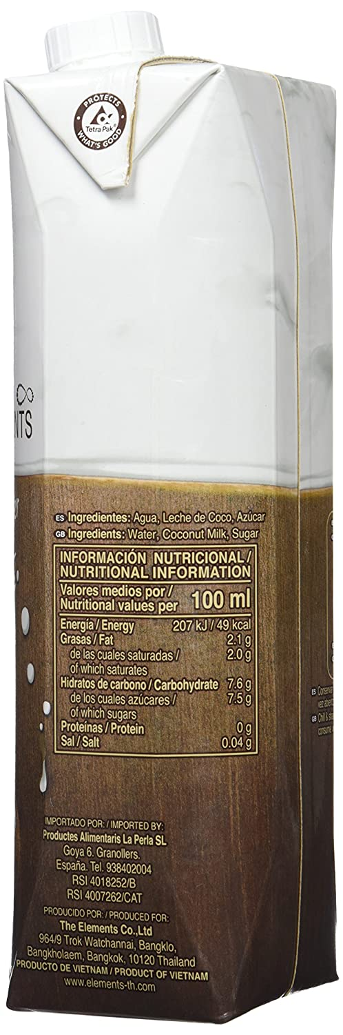 The Elements Bebida de Leche - 6 Recipientes de 1000 ml - Total: 6000 ml: Amazon.es: Alimentación y bebidas