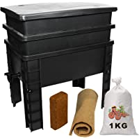 WormBox Urban Worm, Lombricompostor 2 bandejas I 1 kg de lomo de compost I Kit completo I de gran capacidad, 68 litros