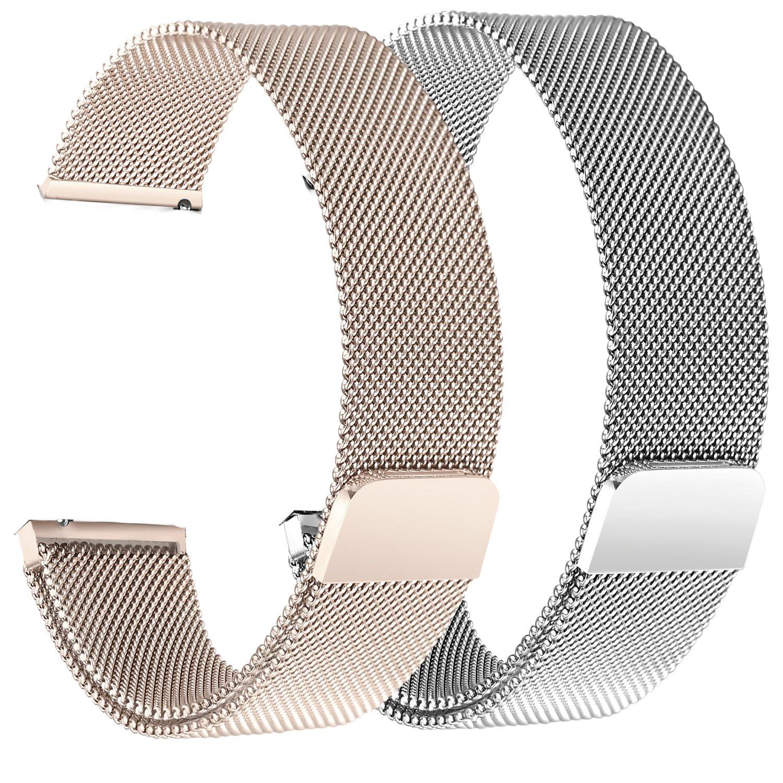 bayite for Fitbit Versaバンド2パック、ミラネーゼループメッシュスポーツバンドステンレススチールメタル磁気クラスプ留めリストバンドfor Fitbit Versa Smartwatchメンズレディース 5.5''-6.7''|2 Pack: Silver + Champagne 2 Pack: Silver + Champagne 5.5''-6.7'' B07BNDY2M3