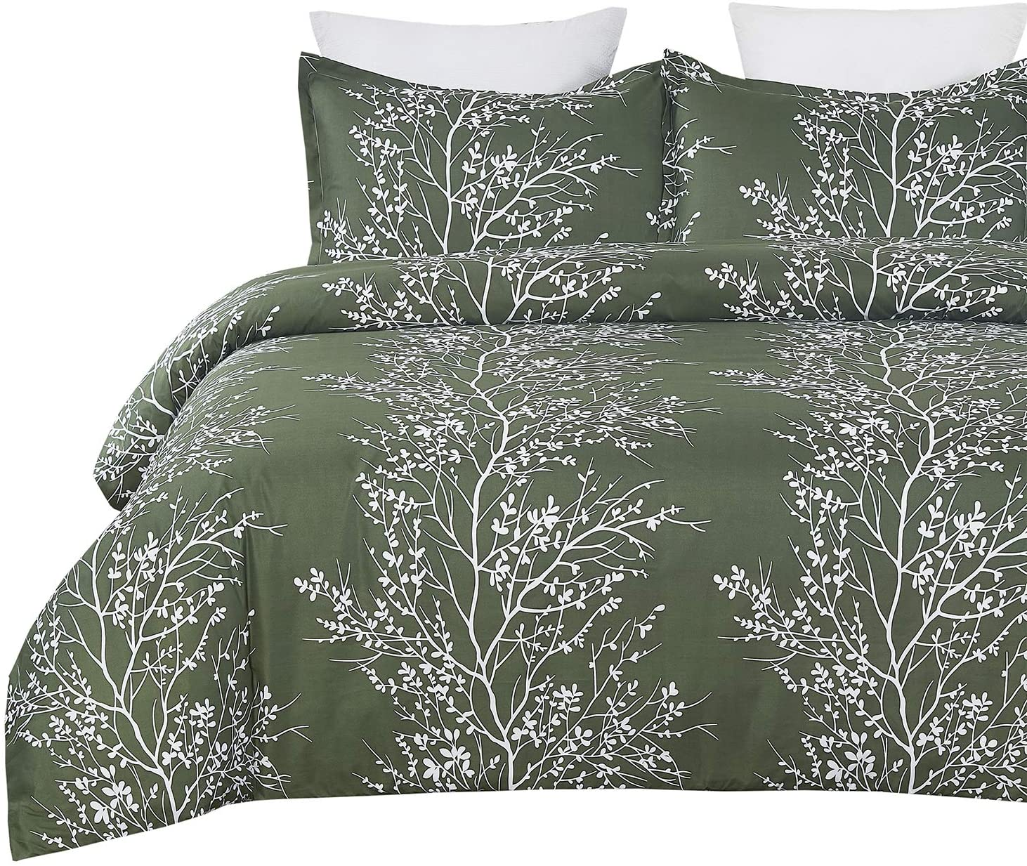 Vaulia Lightweight Microfiber Duvet Cover Set, Dark Green and White Tree Branches Printed Pattern - Queen Size