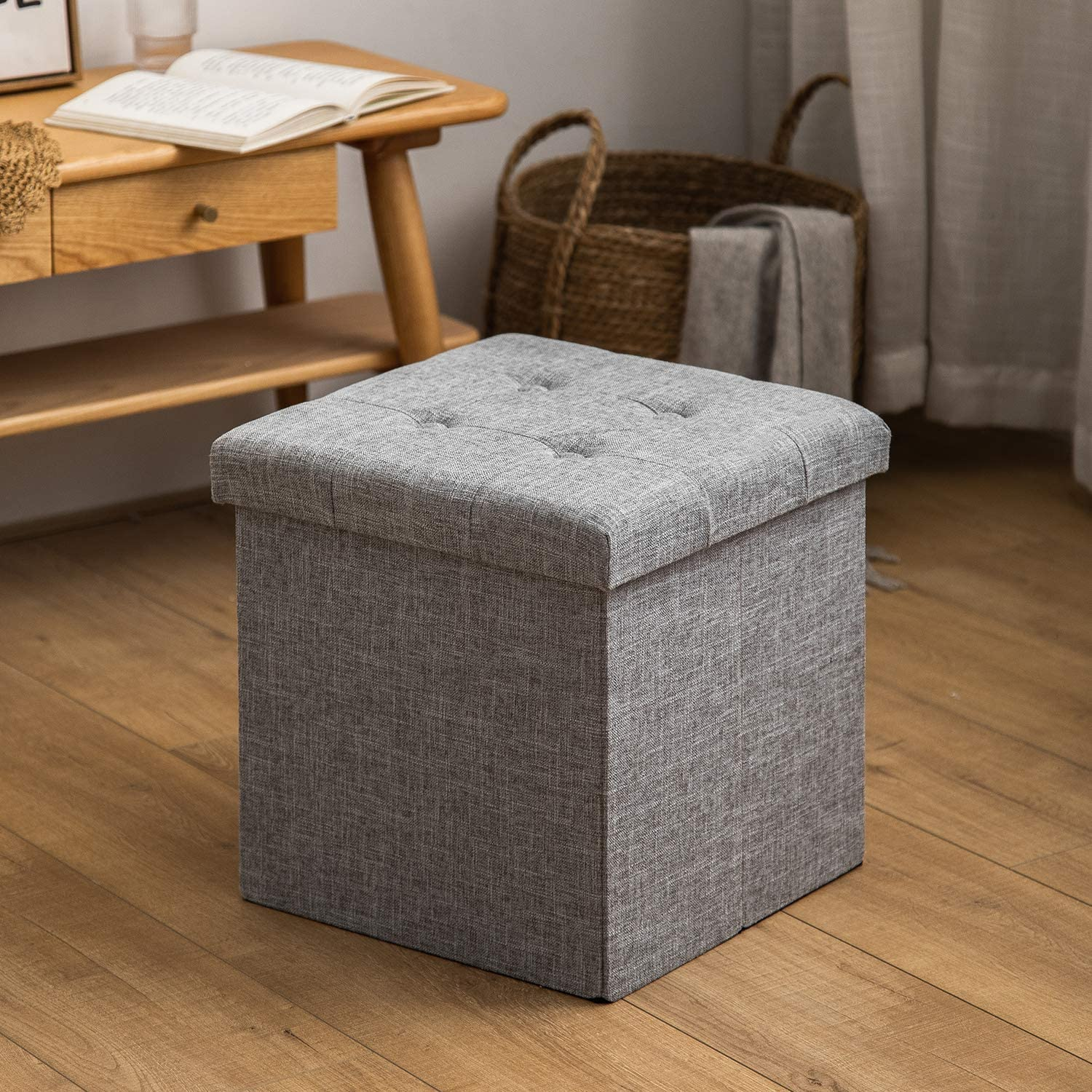 HuiDao Storage Ottoman Bench 15x15x15 Inch Super Thick Folding Storage Ottoman Cube Toy Chest Foot Rest Stool Storage Chair for Living Room Bedroom Office (Linen - Grey)