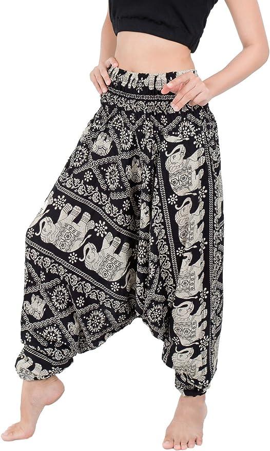Bohotusk Mens Blue Peacock Print Harem Pants Tie Waist Harem Pants ML to XL
