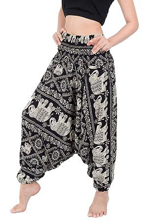 22ccb27f492 Banjamath® Women s Peacock Print Aladdin Harem Hippie Pants Jumpsuit ...