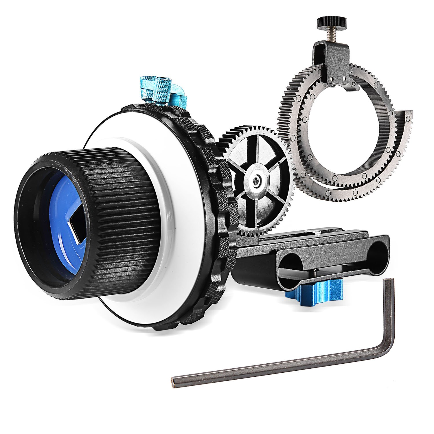 Neewer A-B Stop Follow Focus C2 with Gear Ring Belt for DSLR Cameras Such as Nikon,Canon,Sony DV/Camcorder/Film/Video Cameras,Fits 15mm Rod Mounts,Shoulder Supports by Neewer