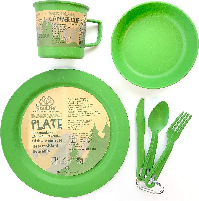 Eco SouLife Juego de Cubiertos biodegradables – Plato, Cuenco ...
