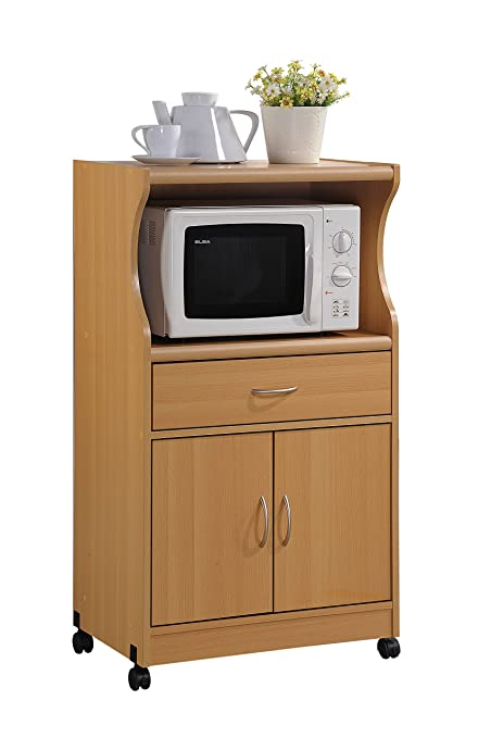 Exceptionnel Hodedah Microwave Cart With One Drawer, Two Doors, And Shelf For Storage,  Beech