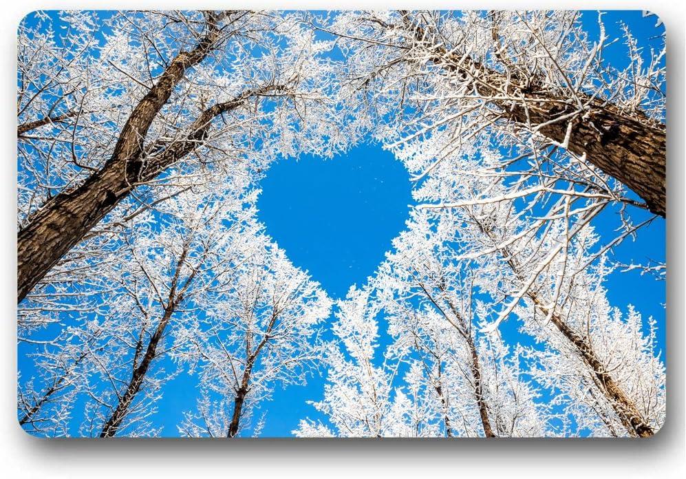 Amazon Com Moslion 30 L X 18 W Doormat Forest Trees Branches Winter Snow Sky Heart Love Indoor Outdoor Front Bathroom Mat Doormat Neoprene Rubber Non Slip Door Mat Garden Outdoor
