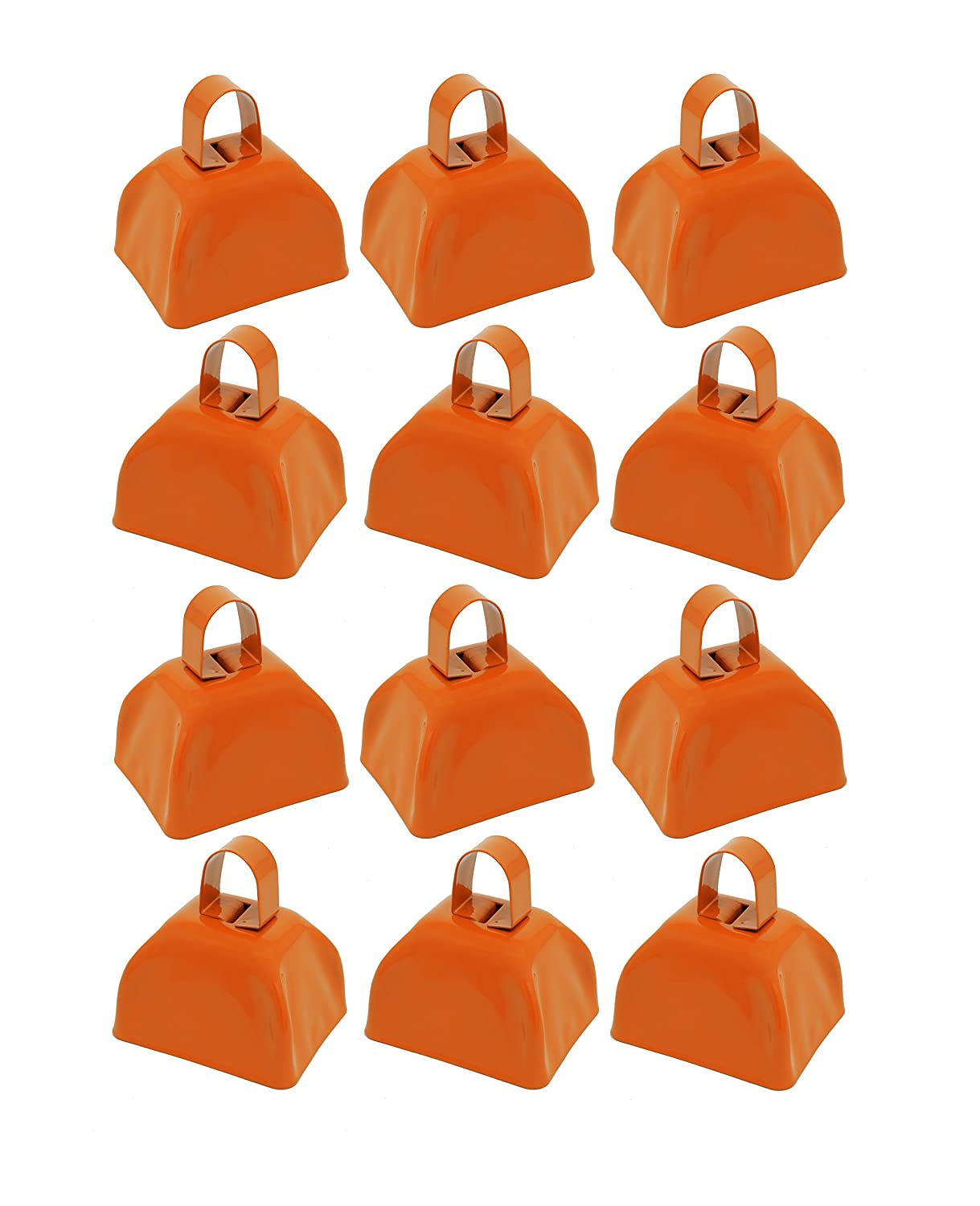 Select A Color School Cowbells Set of 12 White Metal Cowbell Noisemakers