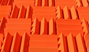 Wedge Style Acoustic Foam Panels 2 Pack - 12in x 12in x 4 Inch Thick Tiles - Soundproofing Acoustic Studio Foam - Orange Color