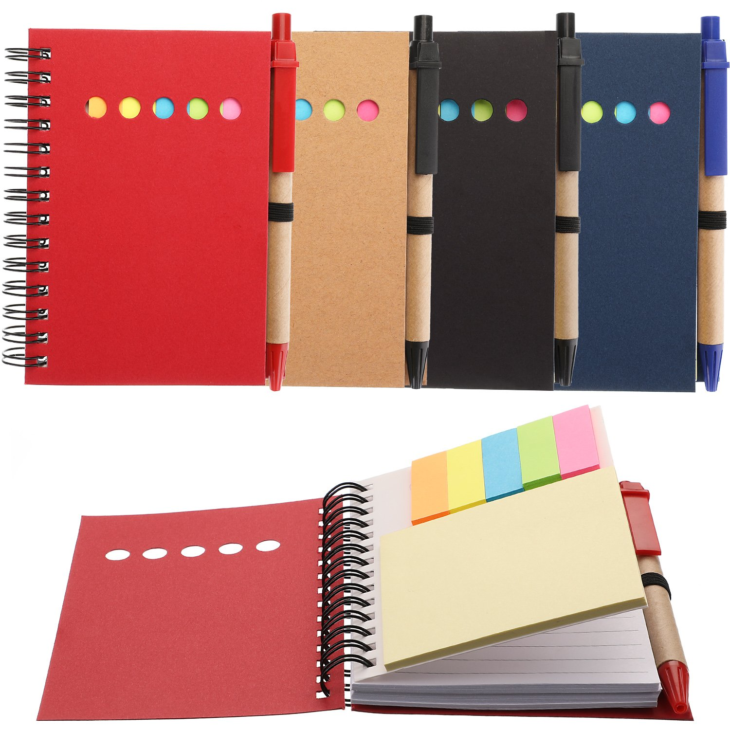 Maxdot 4 Pieces Kraft Paper Steno Pocket Business Notebook Spiral Lined Notepad Set with Pen in Holder, Sticky Colored Notes Page Marker Tabs (4 Colors Cover) by Maxdot
