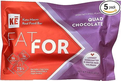 Ke Fatfor Keto Macro Bars Quad Chocolate 5 Pack 3g Net Carbs 9g Protein Stevia Free Gluten Free Almond Free Dairy Free Egg Free