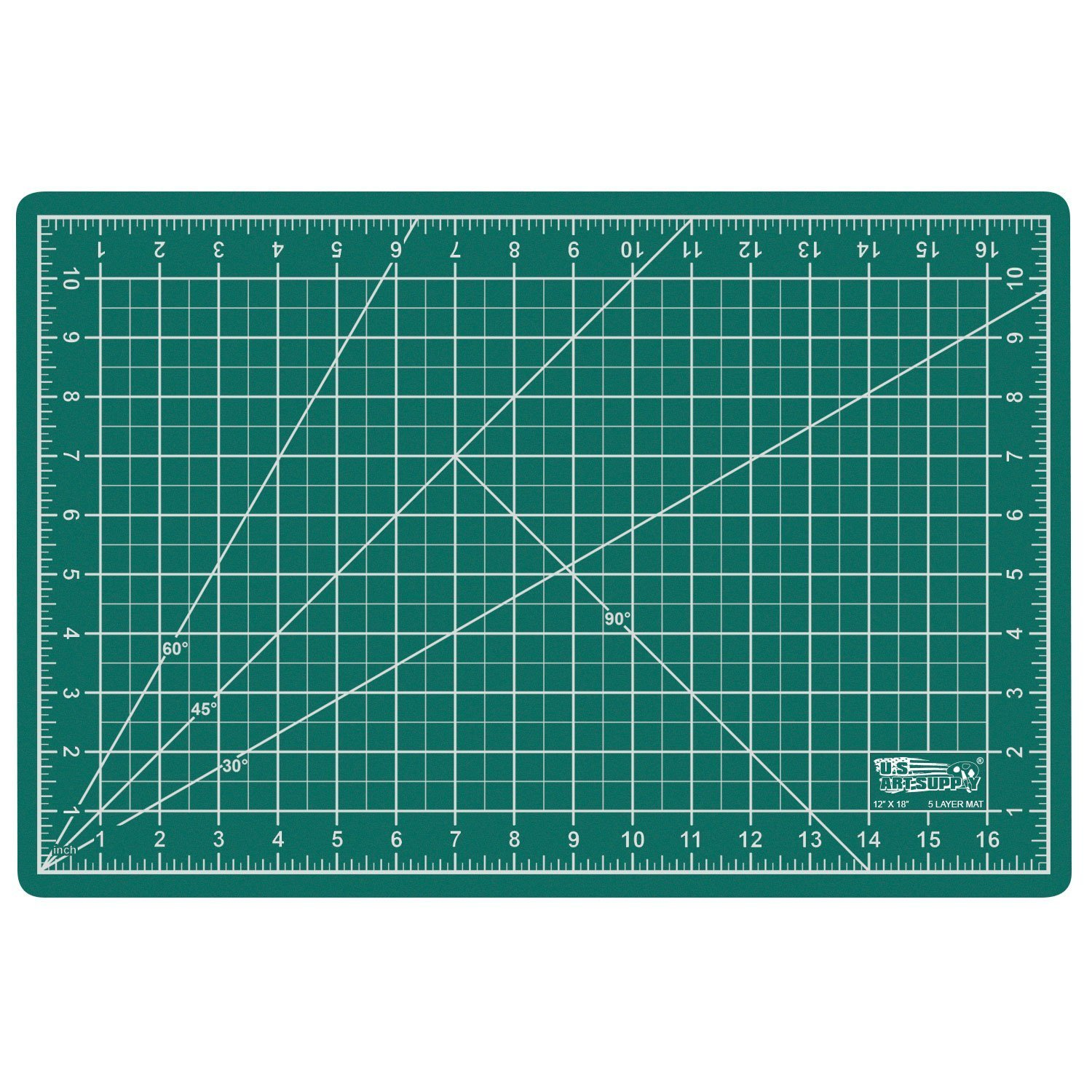 US Art Supply 12'' x 18'' GREEN/BLACK Professional Self Healing 5-Ply Double Sided Durable Non-Slip PVC Cutting Mat Great for Scrapbooking, Quilting, Sewing and all Arts & Crafts Projects