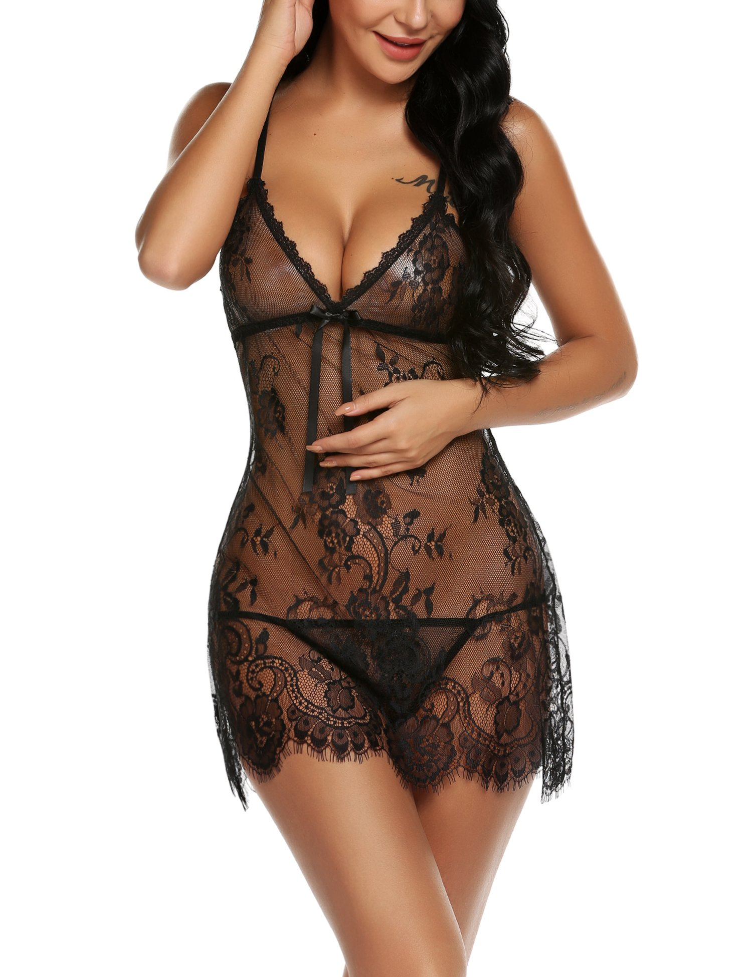 046c93c40 Galleon - ADOME Lingerie For Women Lace Chemise Eyelash Babydoll Nightwear  With Hook Eye Detail