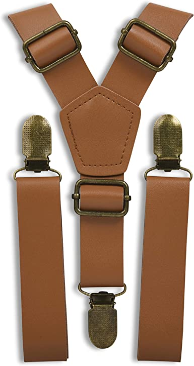 Leather Suspenders for Men and Women Best for Gift and Wedding Brown