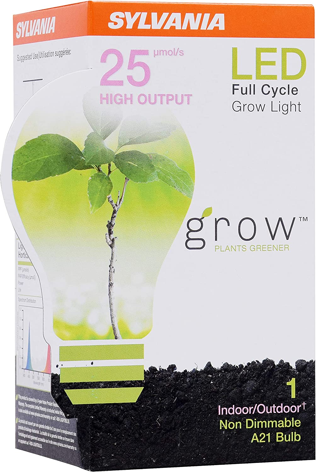 17 Watts LED Grow Lamp Frosted Finish SYLVANIA General Lighting 40023 A21 Ultra