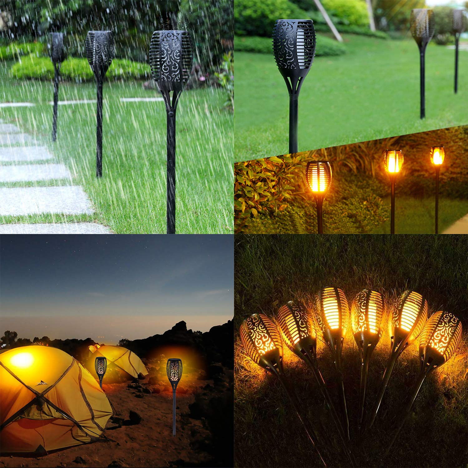 Xtozon Solar Torch Lights Upgraded, Dancing Flames Torch Solar Lamp, 96 LED Flame Effect Saving Lamp, Waterproof Outdoor Pathway Decoration Solar Security Light Auto On/Off from Dusk to Dawn - 4 pack by Xtozon (Image #6)