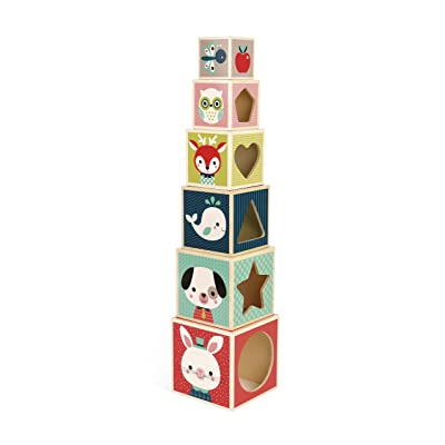 Janod J08016 6-Block Pyramid Baby Forest Game: Toys & Games